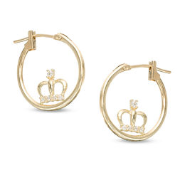 16mm Cubic Zirconia Crown Hoop Earrings in 10K Gold