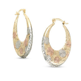 Diamond-Cut Swirling Circles Hoop Earrings in 10K Tri-Tone Gold