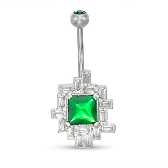 014 Gauge Green and White Crystal Geometric Frame Belly Button Ring in Stainless Steel