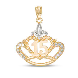 Diamond-Cut Beaded Quinceañera Crown Necklace Charm in 10K Two-Tone Gold