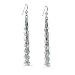 Mirror Chain Tassel Drop Earrings in Sterling Silver