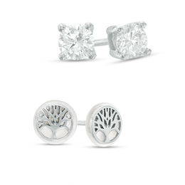 10mm Simulated Mother-of-Pearl Tree of Life and Cubic Zirconia Solitaire Stud Earrings Set in Sterling Silver