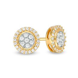 T W Composite Diamond Frame Stud Earrings In 10k Gold