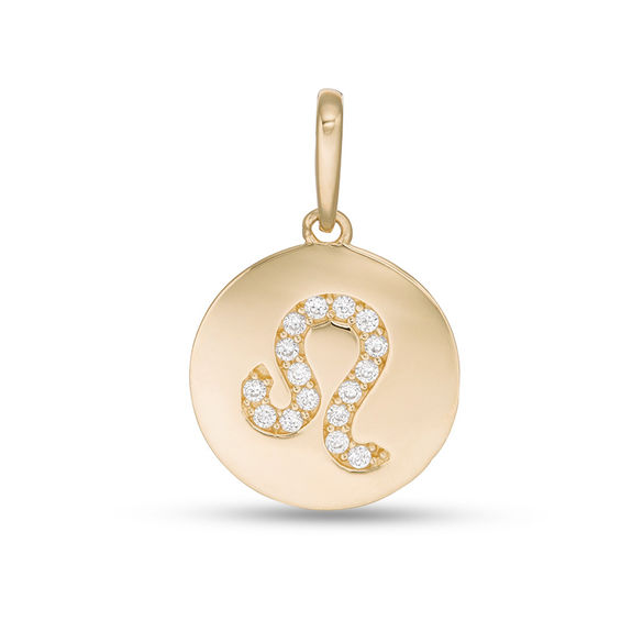 Cubic Zirconia Leo Zodiac Sign Disc Necklace Charm In 10k Gold