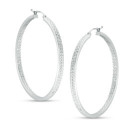 50mm Diamond-Cut Inside-Out Hoop Earrings in Sterling Silver