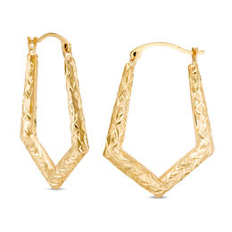 Diamond-Cut Pentagonal Hoop Earrings in 10K Gold