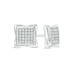 Men S 1 4 Ct T W Square Composite Diamond Swirl Frame Stud Earrings In Sterling