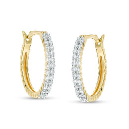 T W Diamond Double Row Hoop Earrings In 10k Gold