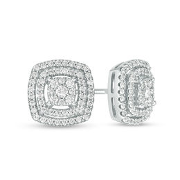 Men's 1/3 CT. T.W. Composite Diamond Cushion Double Frame Stud Earrings in Sterling Silver
