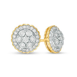 Men S 1 6 Ct T W Diamond Flower Cer Scallop Frame Stud Earrings In 10k