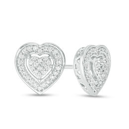 1/6 CT. T.W. Heart-Shaped Composite Diamond Frame Stud Earrings in Sterling Silver