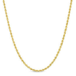 016 Gauge Hollow Rope Chain Necklace In 14k Gold 22