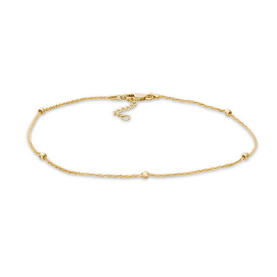 Diamond-Cut Bead Station Anklet in 10K Gold - 10