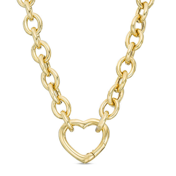 f2c949f7f Ladies' 180 Gauge Rolo Chain Necklace with a Heart Clasp in 10K Gold Bonded  Sterling Silver - 17