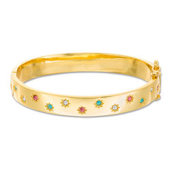 Child's Multi-Color Cubic Zirconia Star Bangle in Brass with 18K Gold Plate - 5.9""