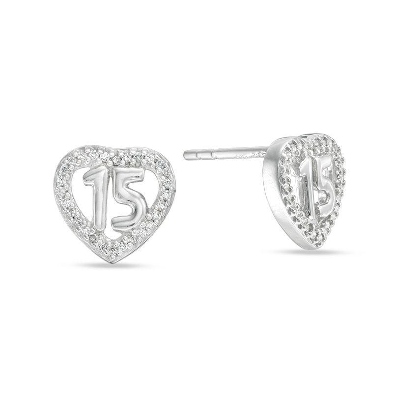 6ccd731ee7b4a 1/10 CT. T.W. Diamond Quinceañera Heart Stud Earrings in Sterling  Silver|Piercing Pagoda