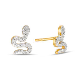 1/10 CT. T.W. Diamond Snake Stud Earrings in 10K Gold