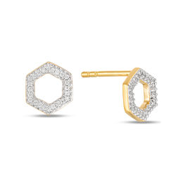 1/10 CT. T.W. Diamond Hexagon Outline Stud Earrings in 10K Gold
