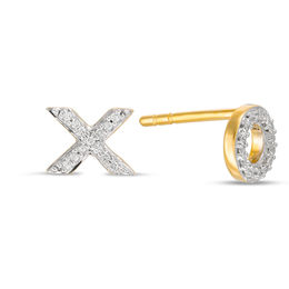 "1/20 CT. T.W. Diamond ""X"" and ""O"" Mismatch Stud Earrings in 10K Gold"