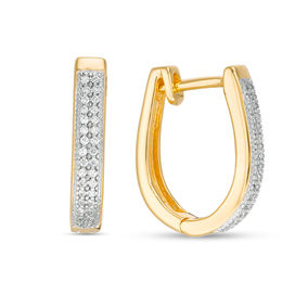 1/8 CT. T.W. Diamond Double Row Vintage-Style Hoop Earrings in 10K Gold