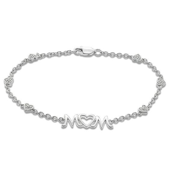 Diamond Accent Heart Station Mom Bracelet In Sterling Silver