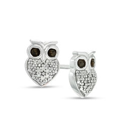 Diamond Accent Owl Stud Earrings in Sterling Silver