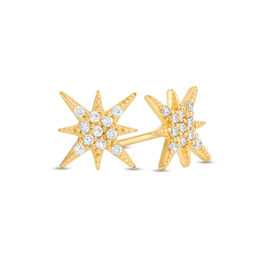 Cubic Zirconia Eight-Point Star Stud Earrings in 10K Gold