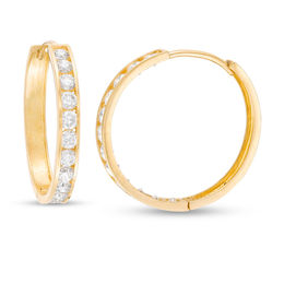 Cubic Zirconia Channel-Set Hoop Earrings in 10K Gold