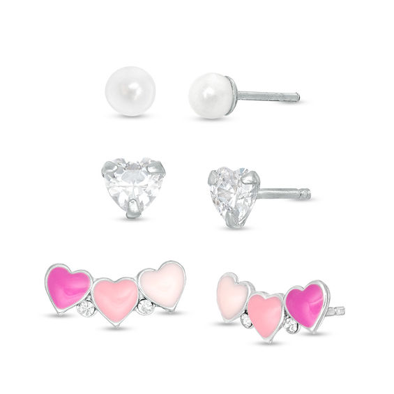 abc99ff81 Child's Simulated Cultured Freshwater Pearl, Pink Enamel Heart and Cubic  Zirconia Stud Earrings Set in Sterling Silver